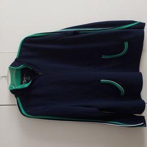 V Sport by Venezia Blue Green & White Zippered Athletic Track Jacket Size 18/20